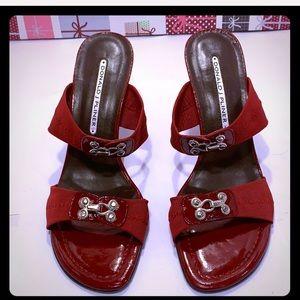 NWOT Donald J Pliner Red Heeled Sandals. Size: 7.5